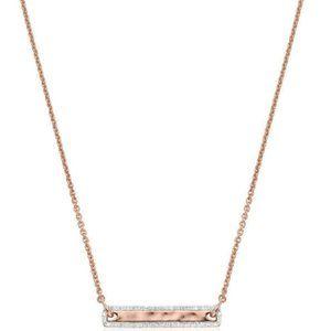 NIB Monica Vinader 18K Rose Gold Plated Vermeil Havana Tiny Bar Diamond Necklace